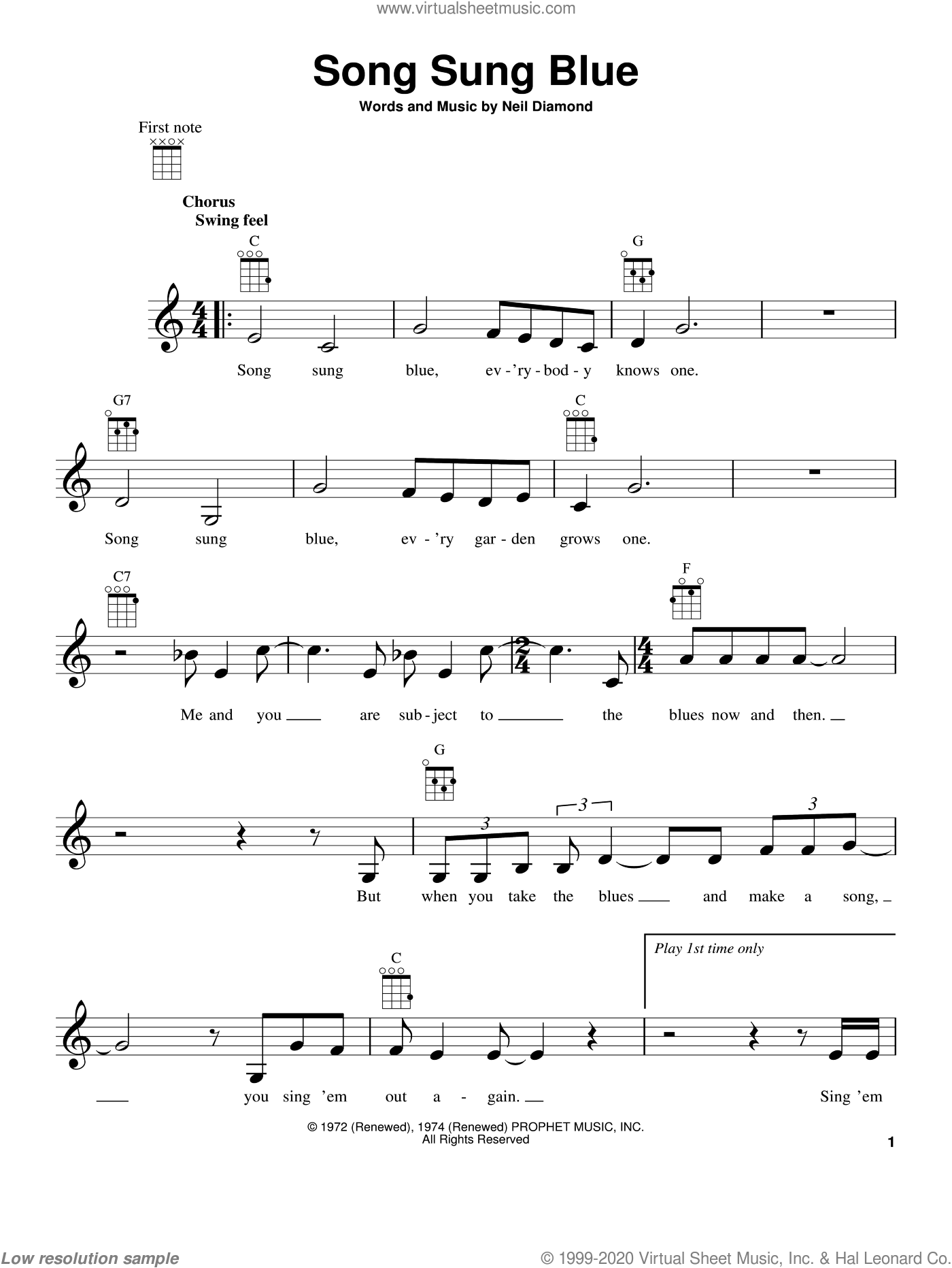 Song Sung Blue sheet music for ukulele by Neil Diamond. Score Image Preview.
