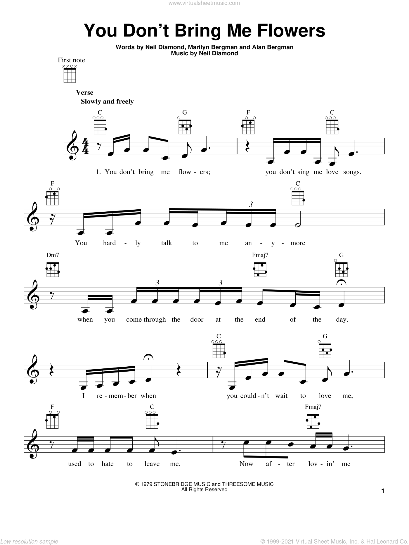 You Don't Bring Me Flowers sheet music for ukulele by Neil Diamond, intermediate skill level