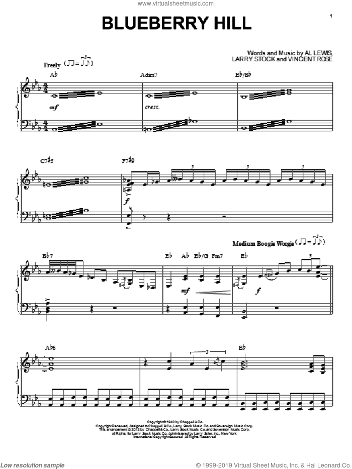Blueberry Hill sheet music for piano solo by Fats Domino, intermediate. Score Image Preview.