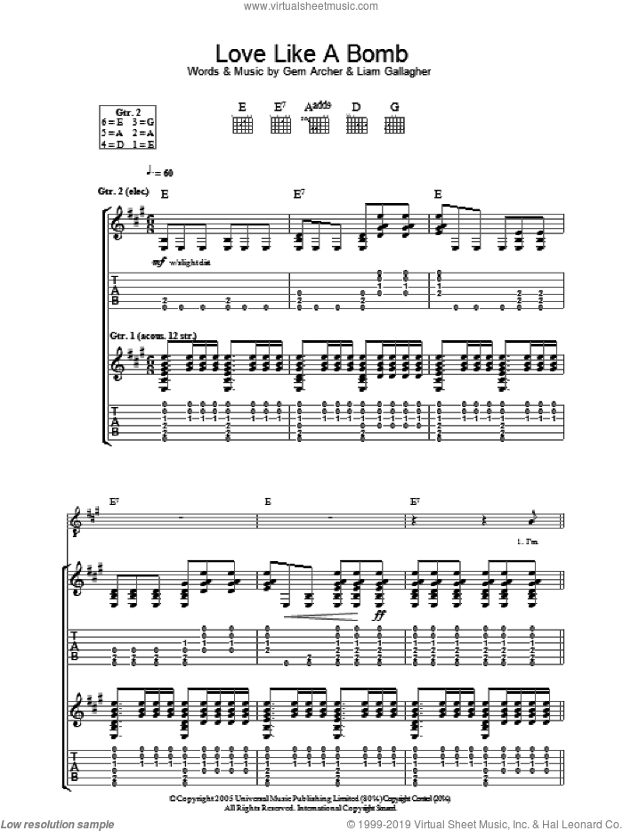 Love Like A Bomb sheet music for guitar (tablature) by Liam Gallagher, Oasis and Gem Archer