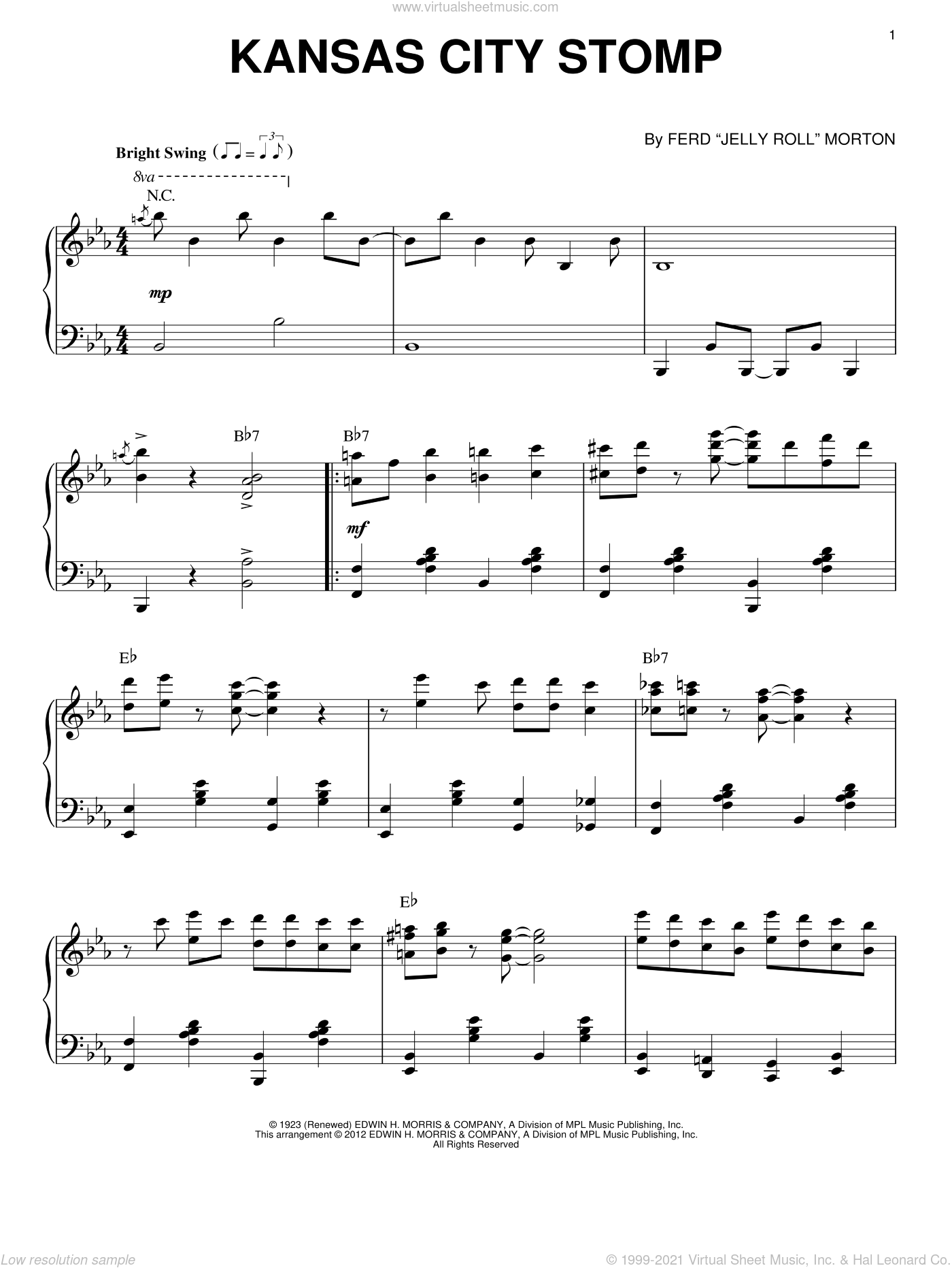 Kansas City Stomp (arr. Brent Edstrom) sheet music for piano solo by Jelly Roll Morton, intermediate skill level