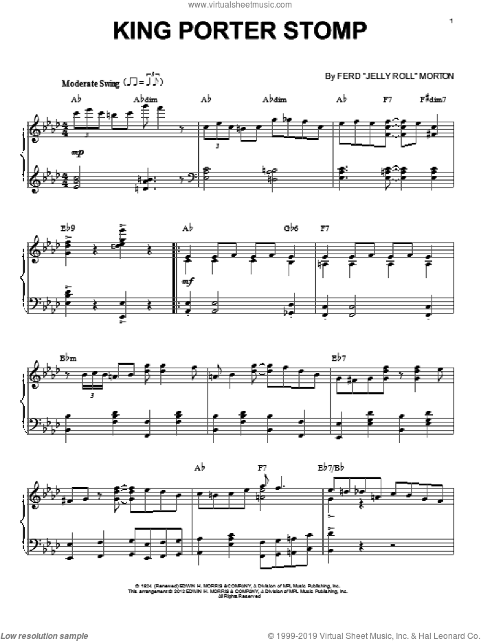 King Porter Stomp (arr. Brent Edstrom) sheet music for piano solo by Jelly Roll Morton, intermediate skill level
