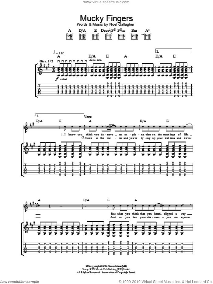 Mucky Fingers sheet music for guitar (tablature) by Noel Gallagher and Oasis. Score Image Preview.