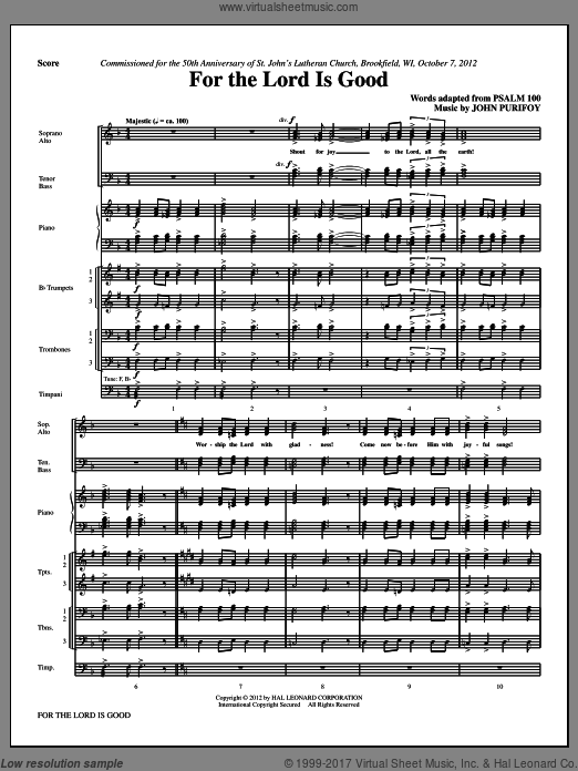For The Lord Is Good (COMPLETE) sheet music for orchestra by John Purifoy