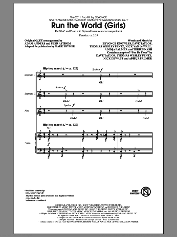Run The World (Girls) sheet music for choir (SSA: soprano, alto) by Mark Brymer, Beyonce and Glee Cast, intermediate