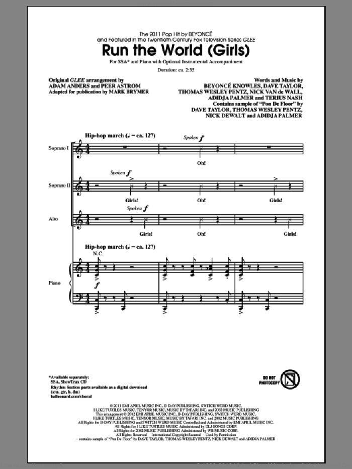 Run The World (Girls) sheet music for choir (SSA: soprano, alto) by Mark Brymer, Beyonce and Glee Cast, intermediate skill level