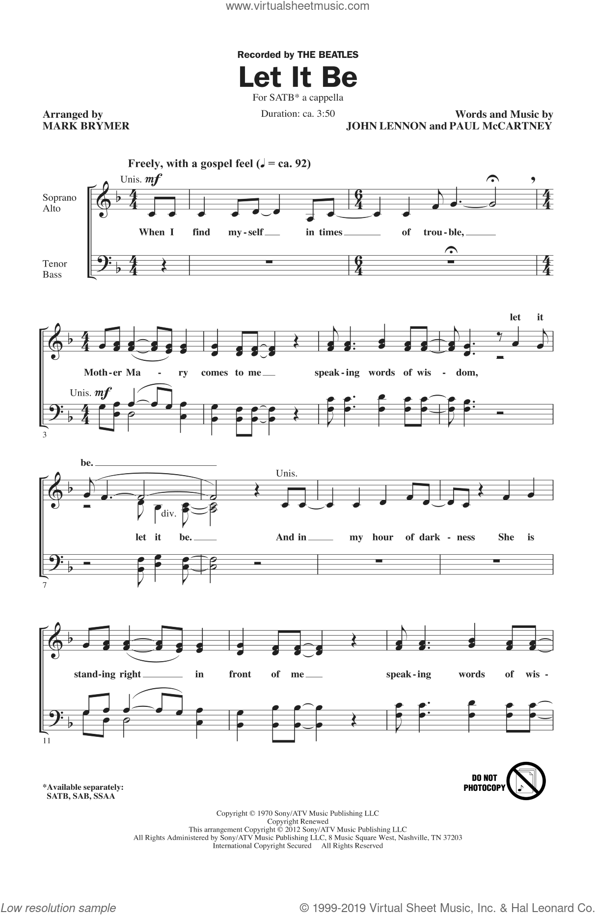 Let It Be sheet music for choir (SATB) by Mark Brymer and The Beatles. Score Image Preview.