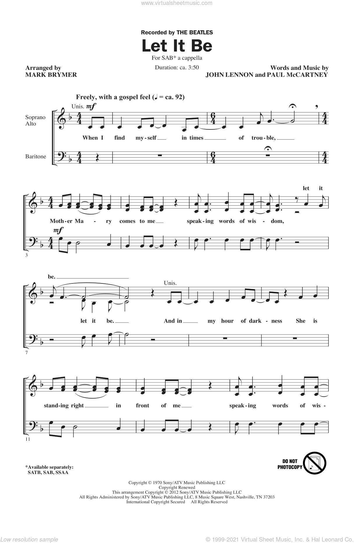 Let It Be sheet music for choir and piano (SAB) by Mark Brymer