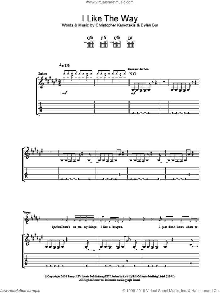 I Like The Way sheet music for guitar (tablature) by Dylan Burns. Score Image Preview.