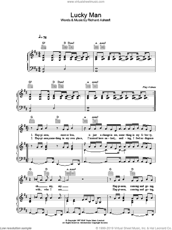 Verve lucky man sheet music for guitar (tablature) [pdf].
