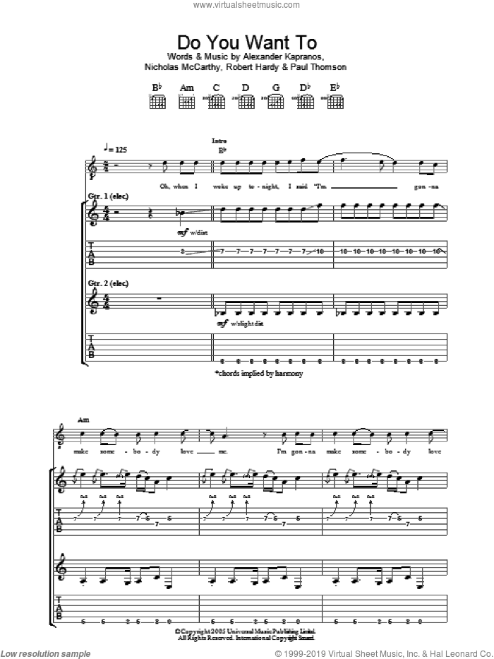 Do You Want To sheet music for guitar (tablature) by Franz Ferdinand. Score Image Preview.