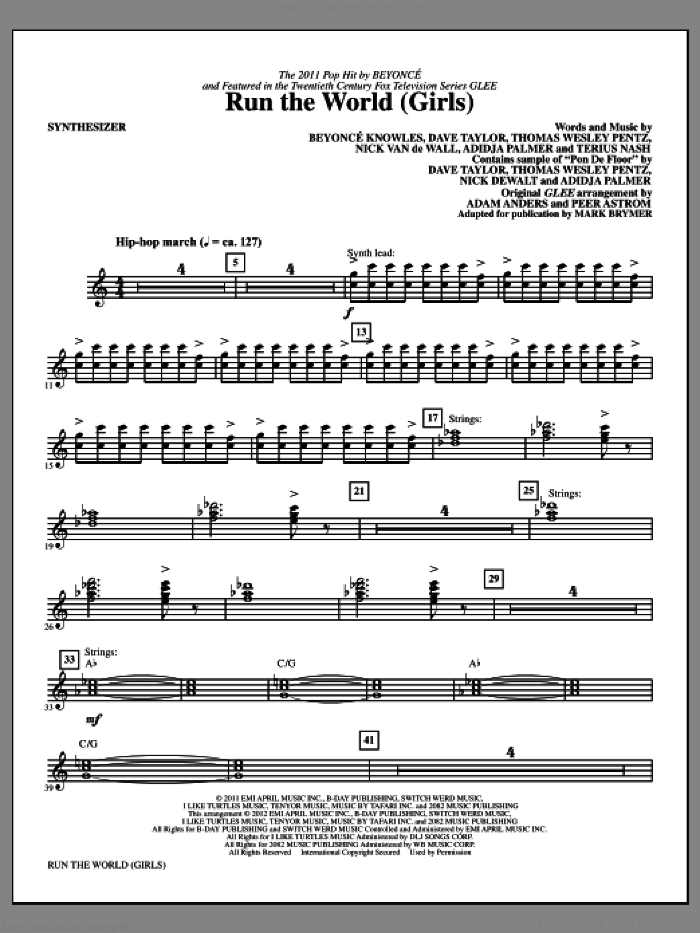 Run the World (Girls) (complete set of parts) sheet music for orchestra/band (Rhythm Section) by Mark Brymer, Beyonce and Glee Cast, intermediate skill level