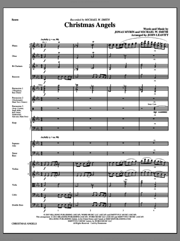 Christmas Angels (complete set of parts) sheet music for orchestra/band (Chamber Orchestra) by Michael W. Smith, Jonas Myrin and John Leavitt, intermediate. Score Image Preview.