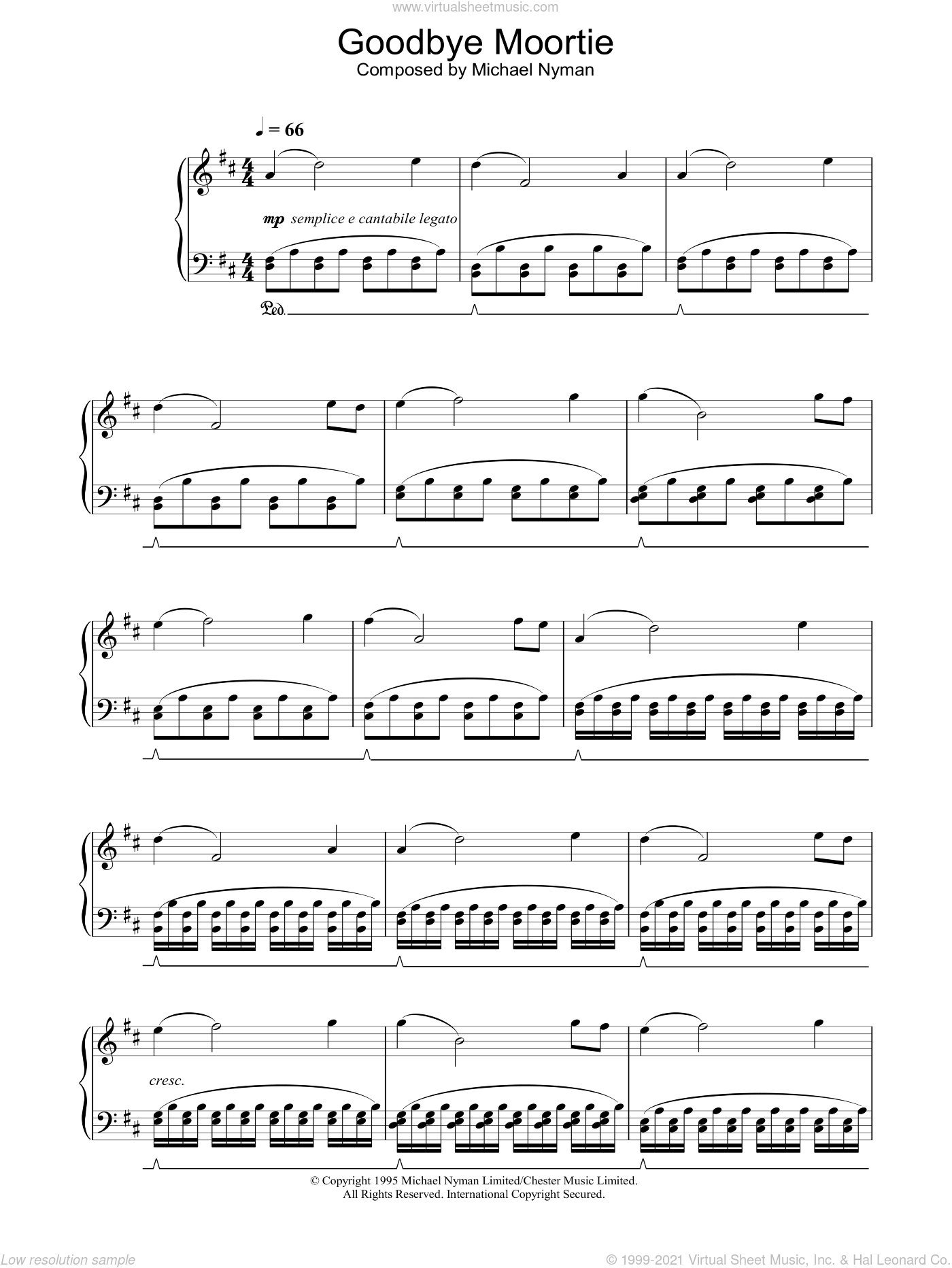 Goodbye Moortie (from The Diary Of Anne Frank) sheet music for piano solo by Michael Nyman. Score Image Preview.