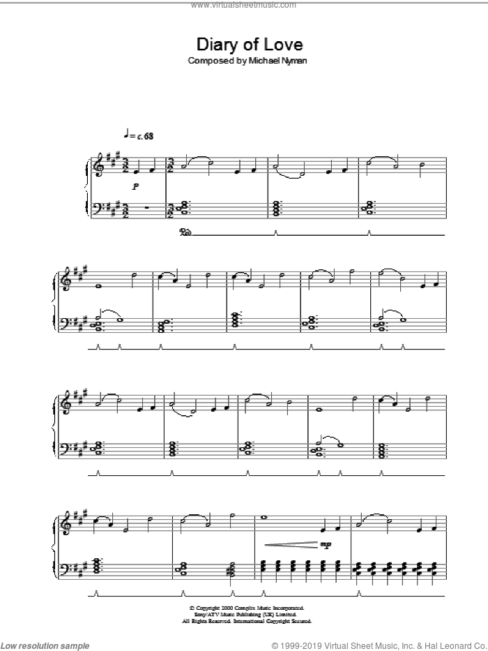 Diary Of Love (from The End Of The Affair) sheet music for piano solo by Michael Nyman, intermediate skill level