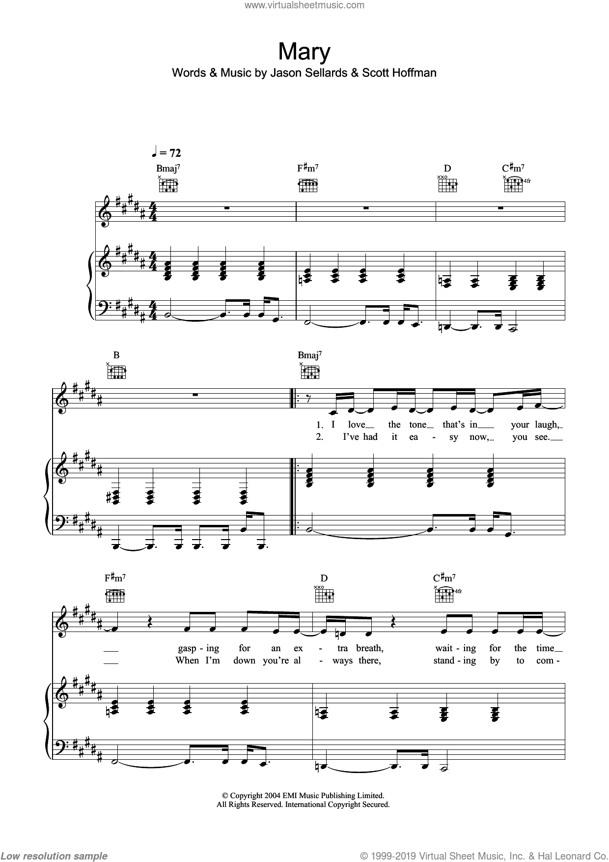 Mary sheet music for voice, piano or guitar by Scissor Sisters, Jason Sellards and Scott Hoffman, intermediate. Score Image Preview.