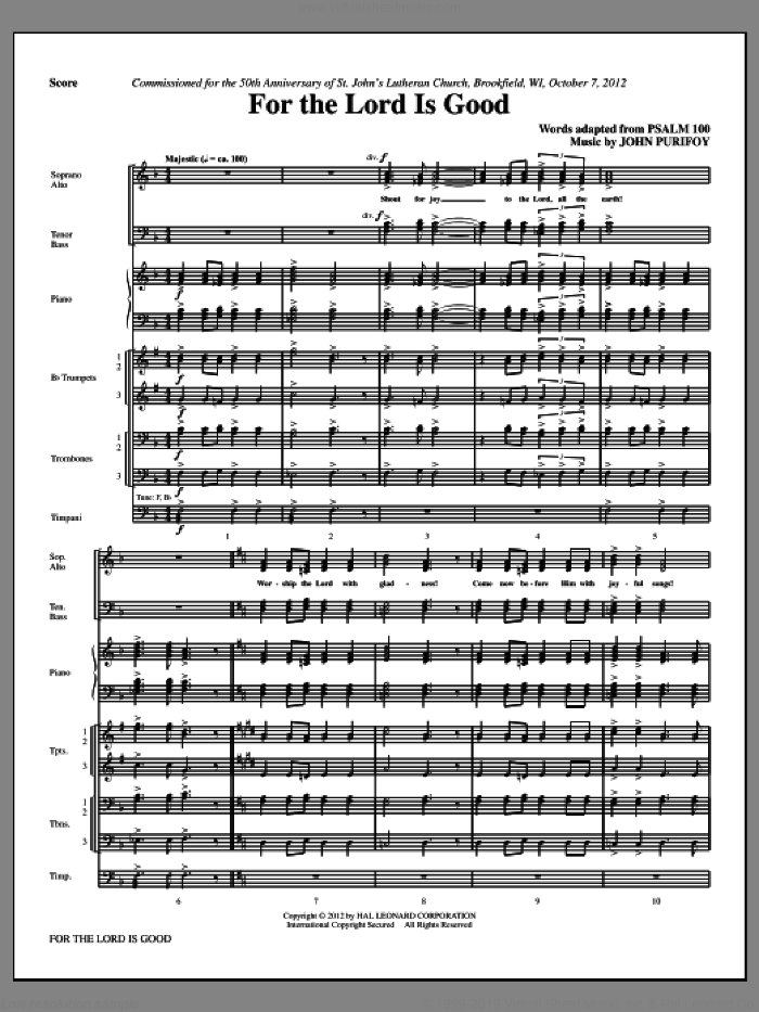 For The Lord Is Good (complete set of parts) sheet music for orchestra/band (Brass/Timpani) by John Purifoy, intermediate skill level