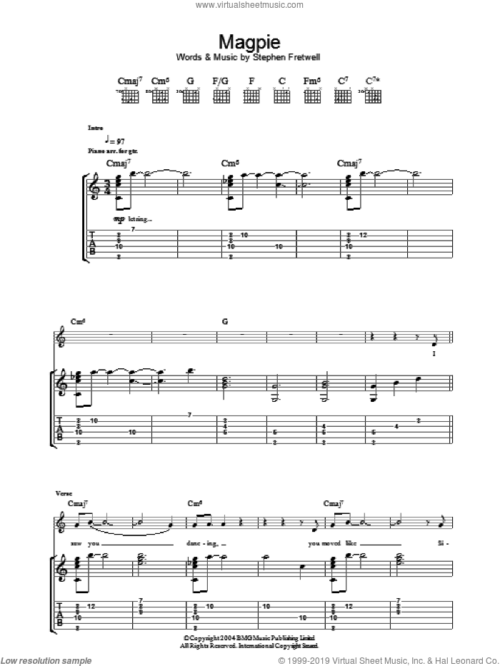 Magpie sheet music for guitar (tablature) by Stephen Fretwell