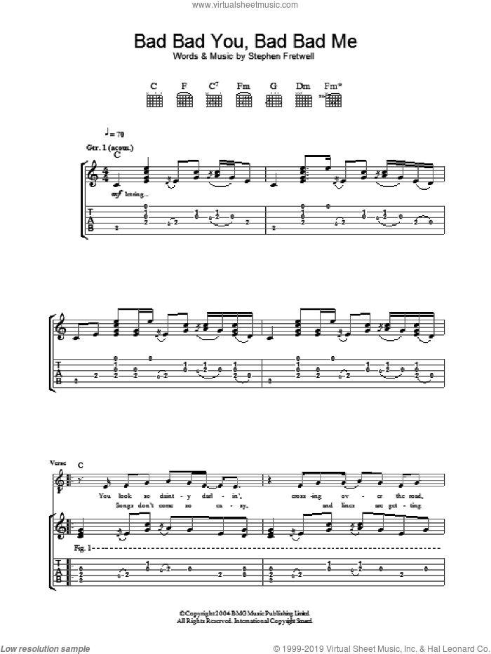 Bad Bad You, Bad Bad Me sheet music for guitar (tablature) by Stephen Fretwell. Score Image Preview.