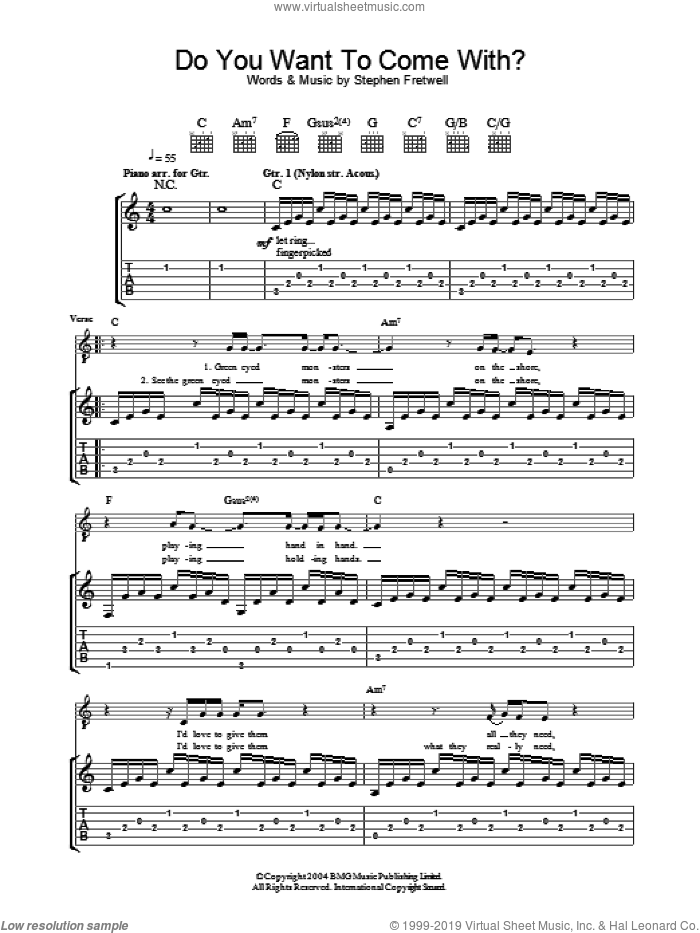 Do You Want To Come With? sheet music for guitar (tablature) by Stephen Fretwell, intermediate skill level