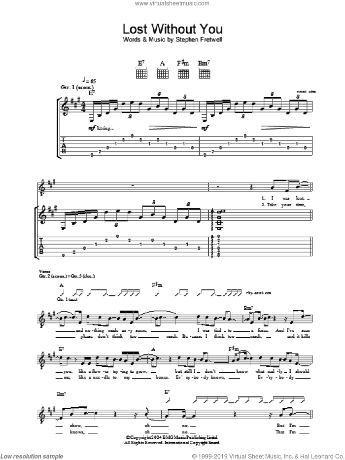 Lost Without You sheet music for guitar (tablature) by Stephen Fretwell, intermediate guitar (tablature). Score Image Preview.