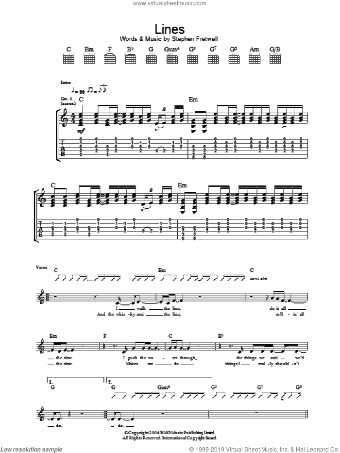 Lines sheet music for guitar (tablature) by Stephen Fretwell. Score Image Preview.