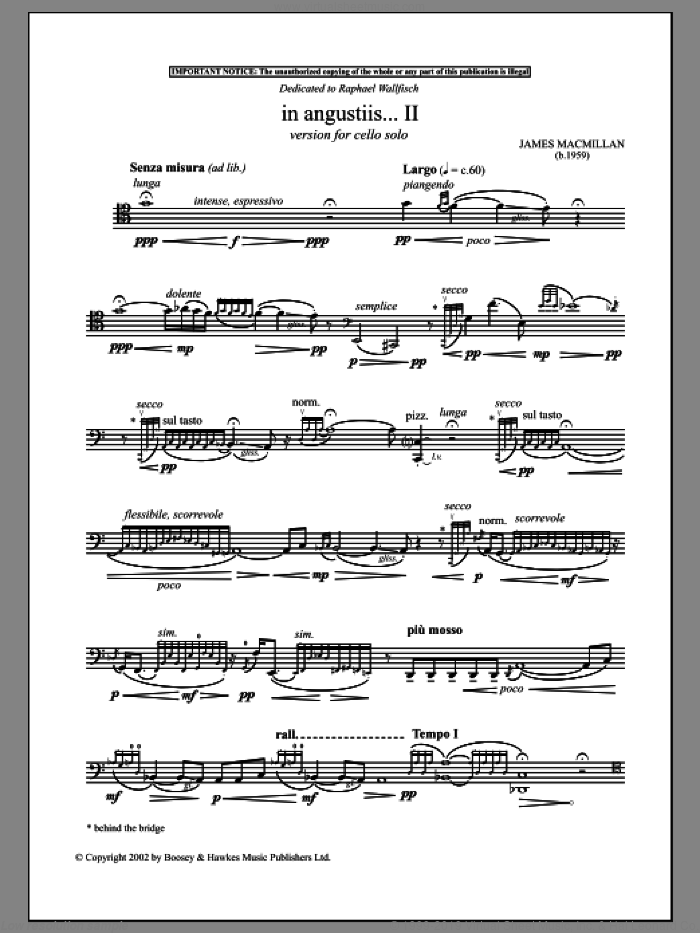 In Angustiis sheet music for cello solo by James MacMillan, classical score, intermediate skill level