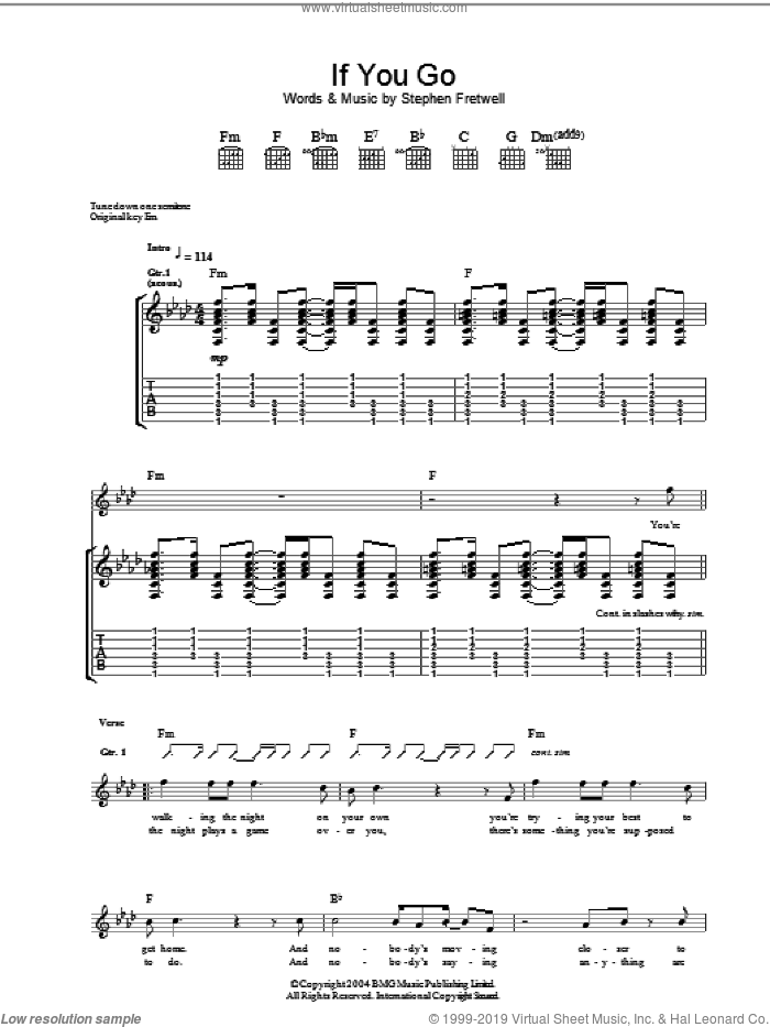 If You Go sheet music for guitar (tablature) by Stephen Fretwell. Score Image Preview.