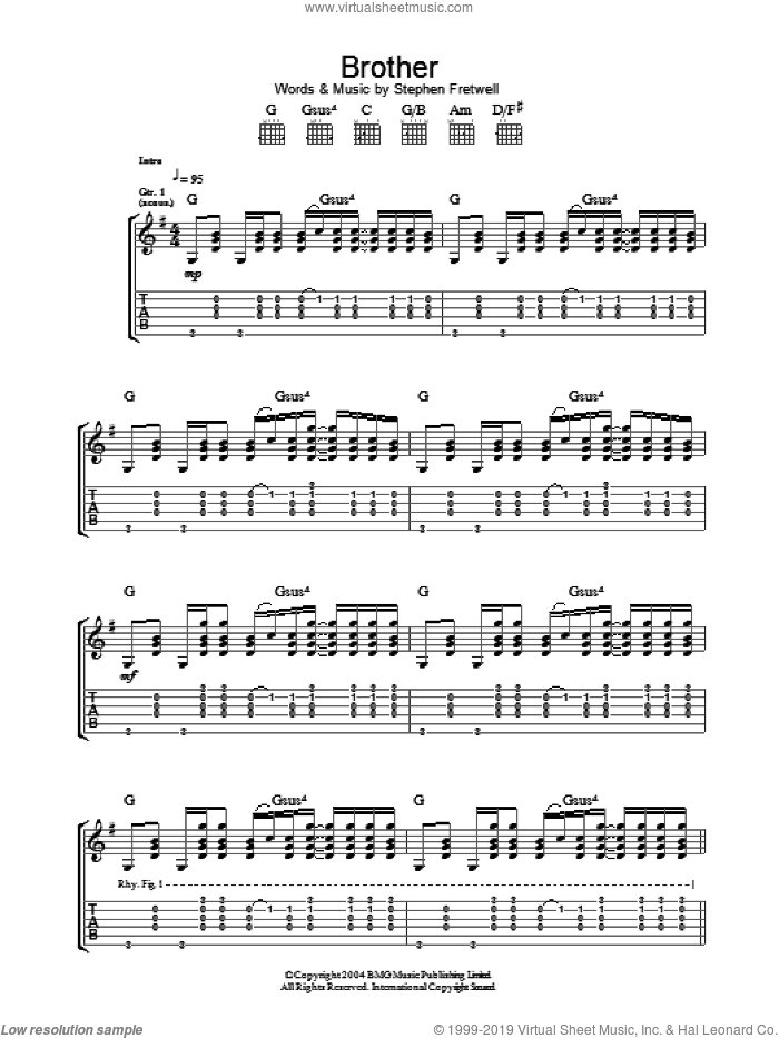 Brother sheet music for guitar (tablature) by Stephen Fretwell. Score Image Preview.