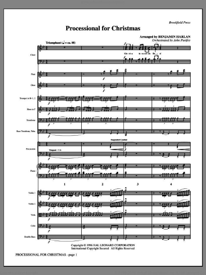 Processional for Christmas (complete set of parts) sheet music for orchestra/band (Orchestra) by Benjamin Harlan, intermediate. Score Image Preview.