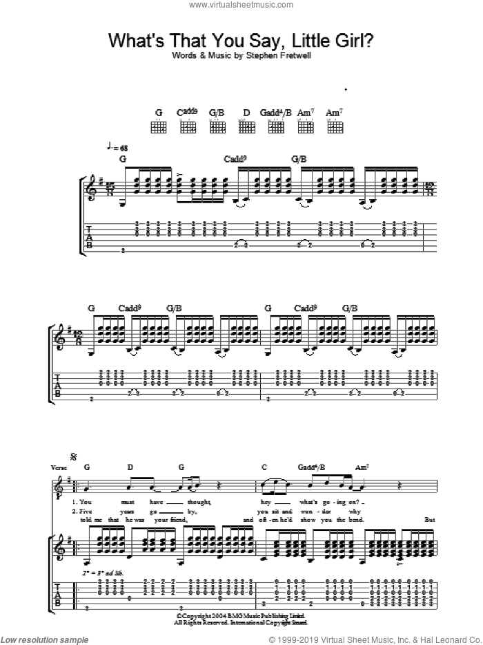 What's That You Say Little Girl? sheet music for guitar (tablature) by Stephen Fretwell