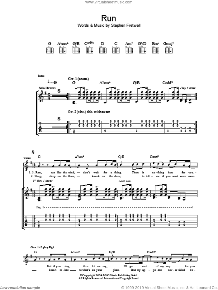 Run sheet music for guitar (tablature) by Stephen Fretwell. Score Image Preview.