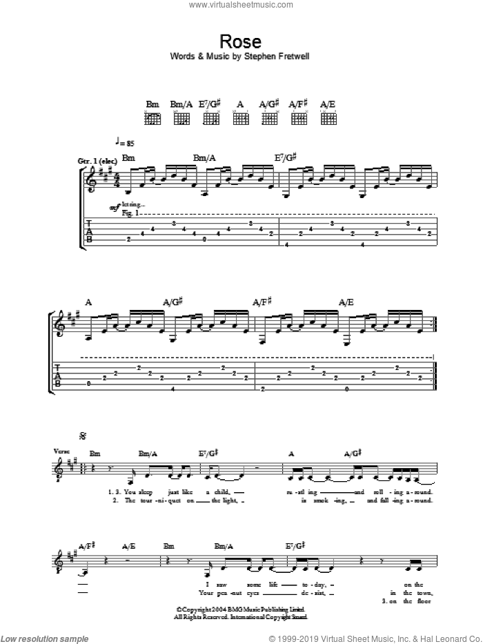Rose sheet music for guitar (tablature) by Stephen Fretwell, intermediate