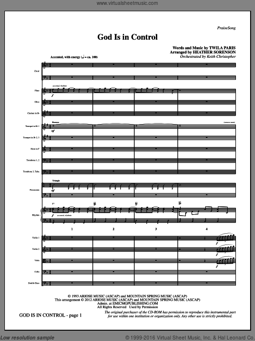 God Is In Control (COMPLETE) sheet music for orchestra by Heather Sorenson and Twila Paris. Score Image Preview.