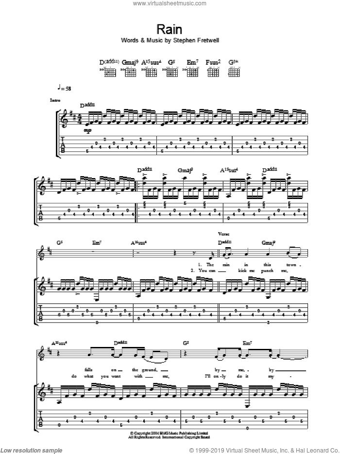 Rain sheet music for guitar (tablature) by Stephen Fretwell. Score Image Preview.