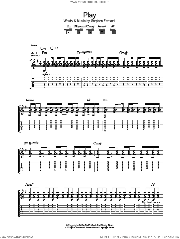 Play sheet music for guitar (tablature) by Stephen Fretwell. Score Image Preview.