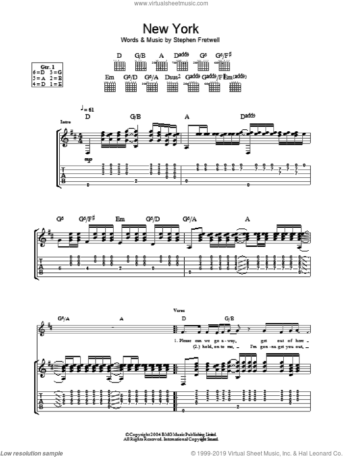 New York sheet music for guitar (tablature) by Stephen Fretwell, intermediate skill level