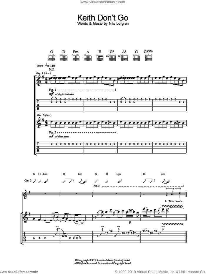 Keith Don't Go sheet music for guitar (tablature) by Nils Lofgren