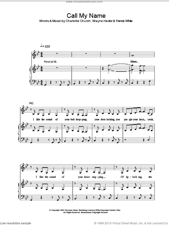 Call My Name sheet music for voice, piano or guitar by Wayne Hector, Charlotte Church and Francis White. Score Image Preview.