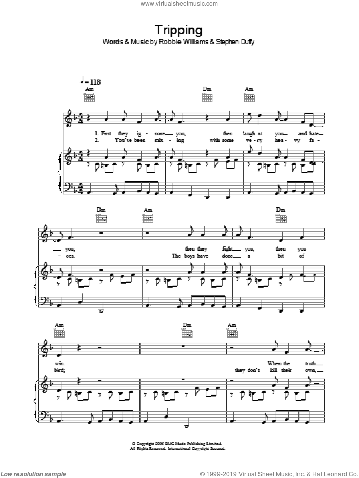 Tripping sheet music for voice, piano or guitar by Robbie Williams and Stephen Duffy, intermediate skill level