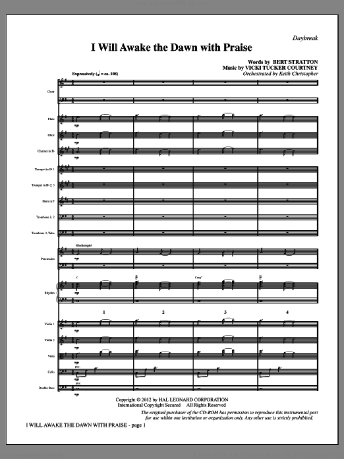 I Will Awake the Dawn with Praise (complete set of parts) sheet music for orchestra/band (Orchestra) by Vicki Tucker Courtney and Bert Stratton, intermediate orchestra. Score Image Preview.