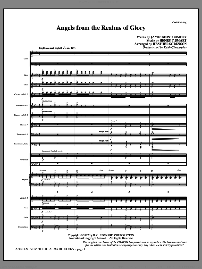 Angels From the Realms of Glory (complete set of parts) sheet music for orchestra/band (Orchestra) by Henry T. Smart, Heather Sorenson and James Montgomery, intermediate. Score Image Preview.