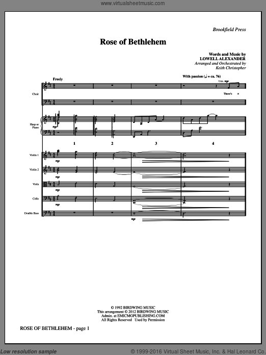 Rose Of Bethlehem (COMPLETE) sheet music for orchestra by Lowell Alexander, Keith Christopher and Selah. Score Image Preview.