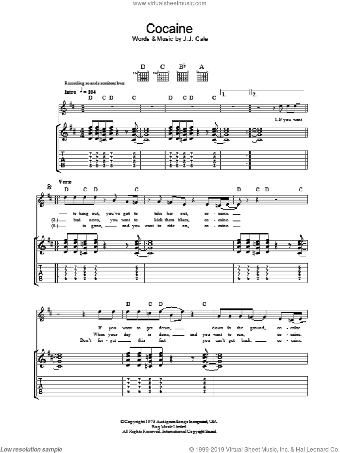 Cocaine sheet music for guitar (tablature) by John Cale