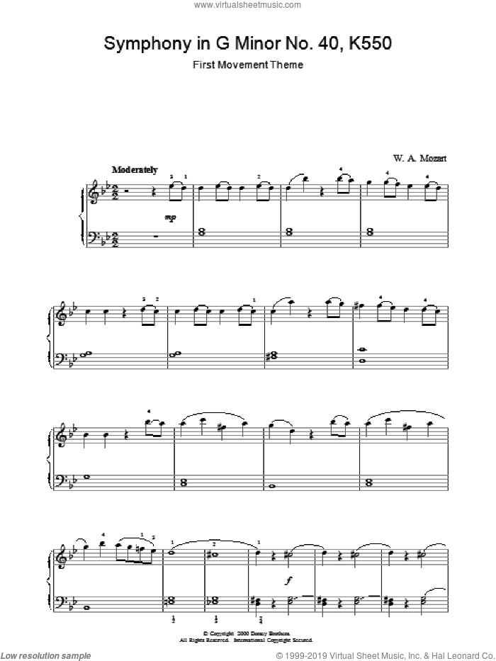 First Movement Theme from Symphony in G Minor No.40 K550 sheet music for piano solo by Wolfgang Amadeus Mozart, classical score, intermediate. Score Image Preview.