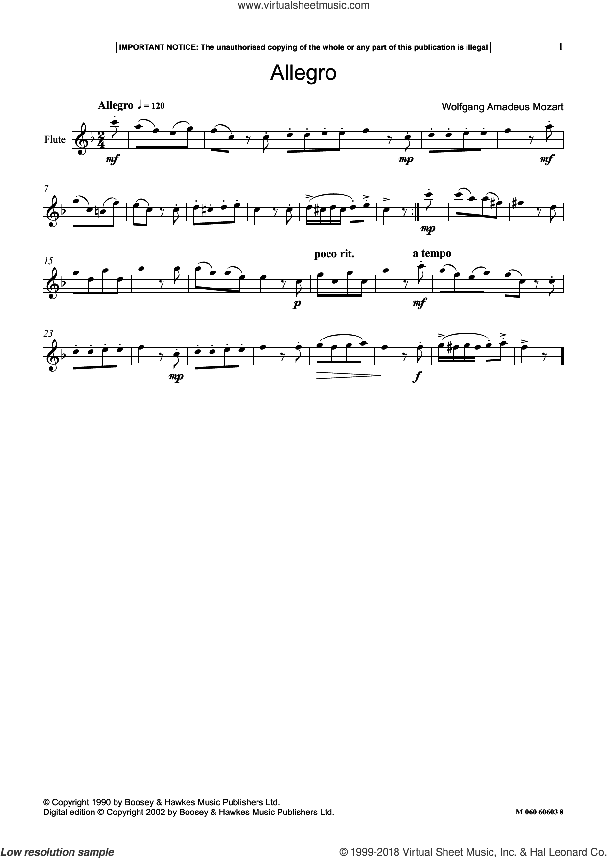 Allegro sheet music for flute solo by Wolfgang Amadeus Mozart, classical score, intermediate skill level