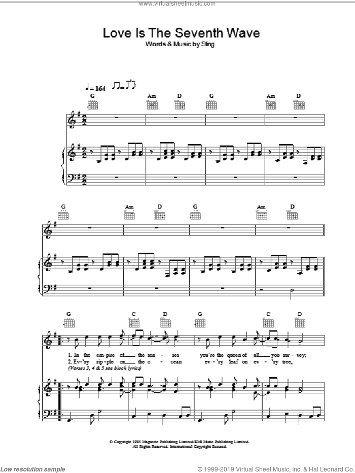 Love Is The Seventh Wave sheet music for voice, piano or guitar by Sting. Score Image Preview.