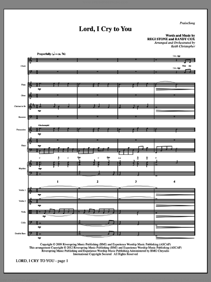 Lord, I Cry To You (COMPLETE) sheet music for orchestra by Randy Cox, Keith Christopher and Regi Stone. Score Image Preview.