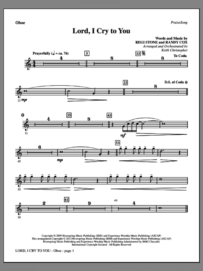 Lord, I Cry To You sheet music for orchestra/band (oboe) by Regi Stone, Randy Cox and Keith Christopher, intermediate skill level