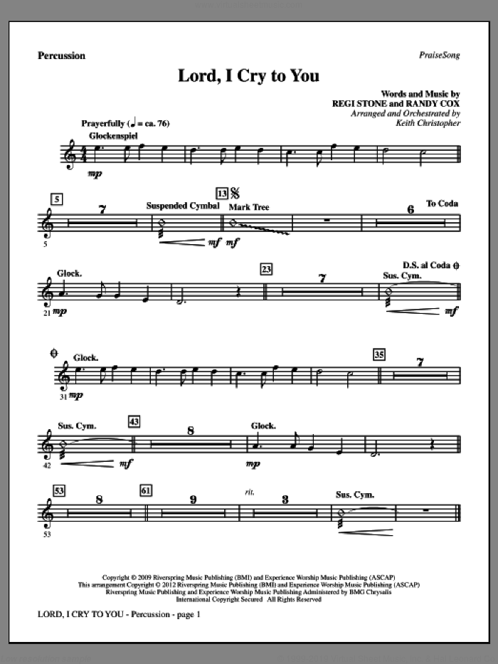 Lord, I Cry To You sheet music for orchestra/band (percussion) by Regi Stone, Randy Cox and Keith Christopher, intermediate skill level